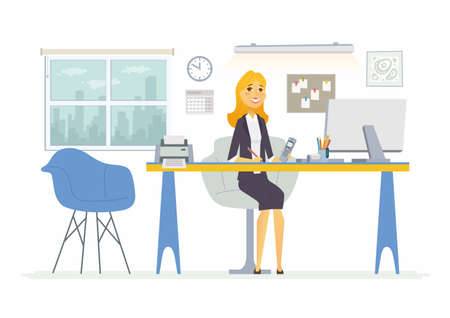 coworker: Office Woman - modern vector flat illustration