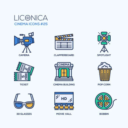 Cinema - modern vector flat line design icons set.