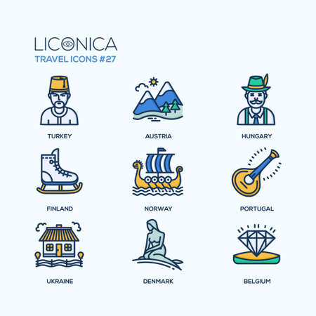 Travel - modern vector flat line design icons set.