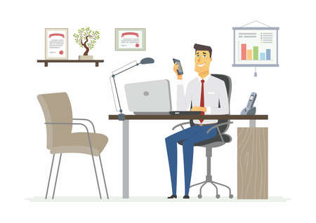 coworker: Office Man - modern vector flat illustration