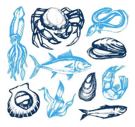 Delicious Seafood - vector vintage illustration Illustration