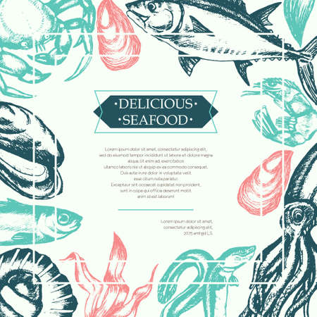 Delicious Seafood - color vintage postcard template.