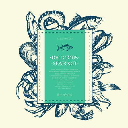 美味しい魚介類 - 現代の描かれた正方形のはがきテンプレート。  イラスト・ベクター素材