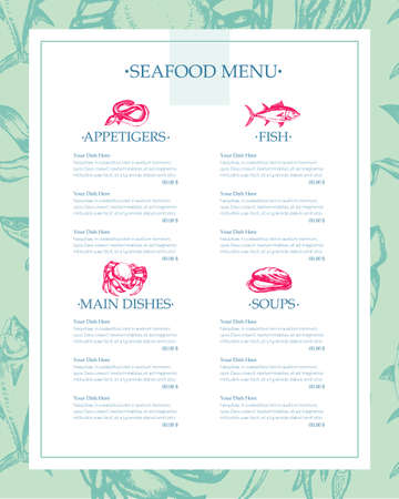Delicious Seafood - vector drawn template menu