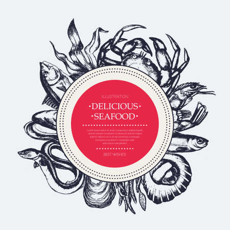 Delicious Seafood - modern drawn round banner template.