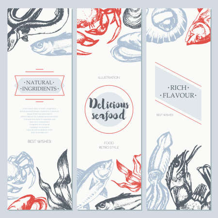 Delicious Seafood - color drawn template banner template. Ilustrace
