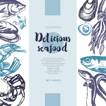 美味しい魚介類 - 描かれたヴィンテージのバナーの色のテンプレート。 写真素材 - 81071504