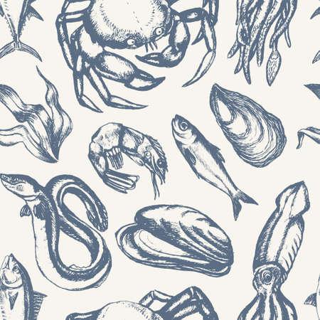 美味しい魚介類 - 手の描かれたシームレス パターン  イラスト・ベクター素材