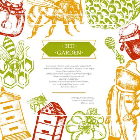 Bee Garden - color vector vintage postcard template. Illustration