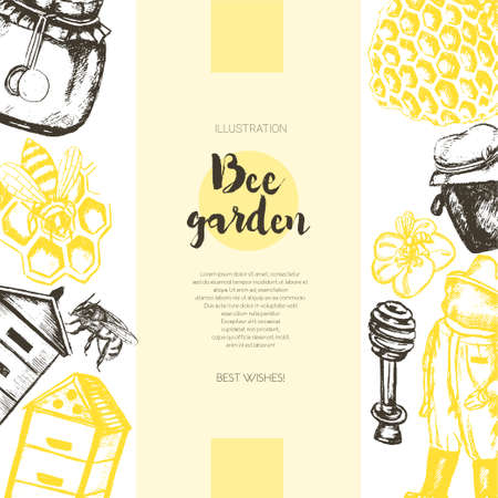 apiculture: Bee Garden - color drawn vintage banner template. Illustration