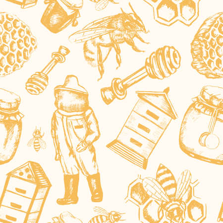 Bee Garden - hand drawn seamless pattern Stock Vector - 81071520