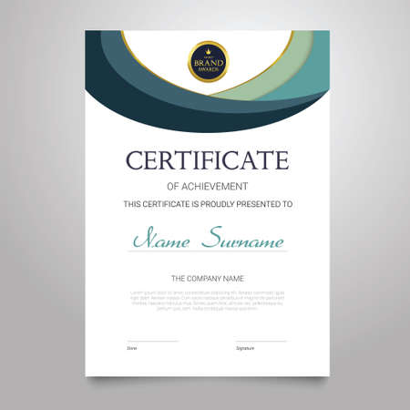 Modelo de certificado - documento vetor elegante vertical