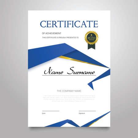 Certificate Template - vertical elegant vector document Illustration