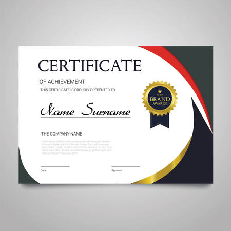 Certificate template horizontal elegant document.