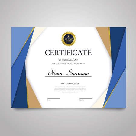 証明書テンプレート - 水平のエレガントなベクター ドキュメント  イラスト・ベクター素材