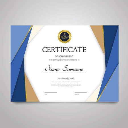 Certificate Template - horizontal elegant vector document