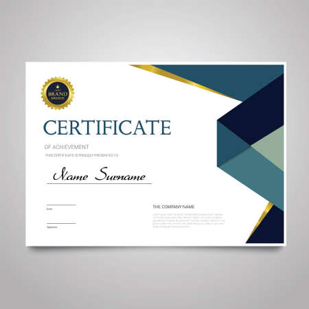 Plantilla de certificado - documento horizontal elegante vector