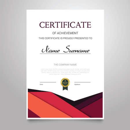 Certificate Template - vertical elegant vector document Stock Photo