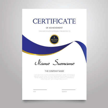 Certificate Template - vertical elegant vector document Фото со стока