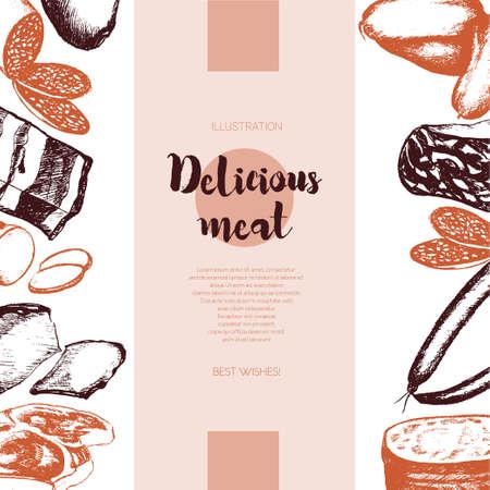 加工肉のイラスト。  イラスト・ベクター素材