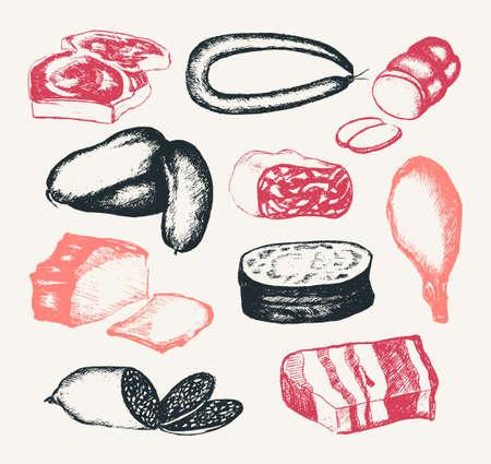 Carne lavorata - illustrazione composita a mano disegnata a mano vettoriale. Salsiccia bologna realistica, affumicata, bologna, headcheese, prosciutto, gammon, pancetta, bistecca. Crea un display, una presentazione per il tuo negozio. Archivio Fotografico - 81306354