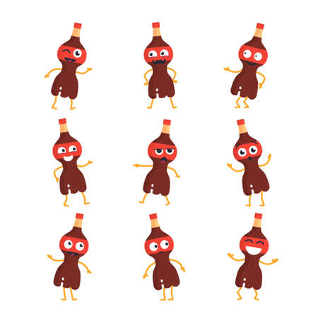 Soda Drink Cartoon Character - modern vector set of mascot illustrations - dancing, smiling, having a good time. Emoticons, emotions, coolness, surprise, blinking, 版權商用圖片