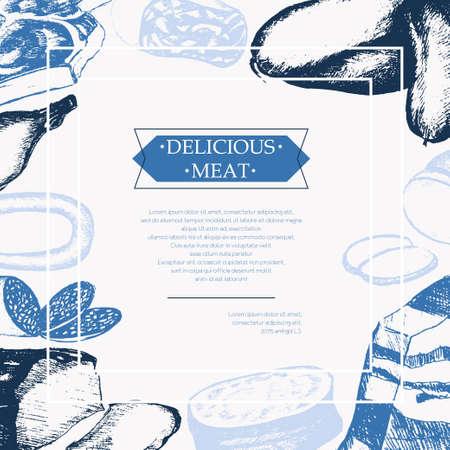 加工肉 - コピー スペースの色ベクトル手描きヴィンテージはがきテンプレート。現実的は煮物、スモーク、夏のソーセージ、ボローニャ、恥垢、ハ