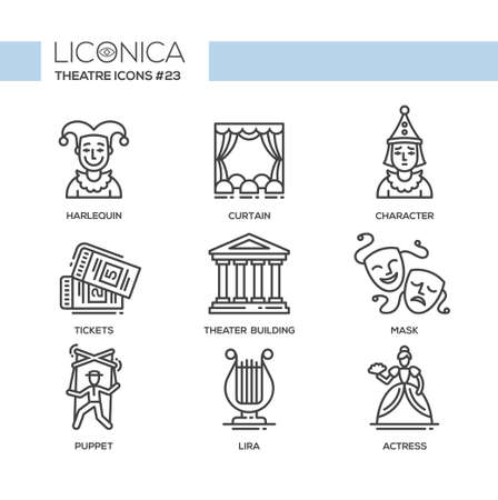 comedy: Theater- modern color vector single line design icons set. Harlequin, curtain, character, ticket, building, tragedy, comedy mask, puppet, lira, actress