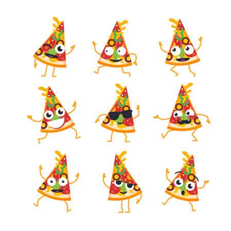 ピザの漫画のキャラクターのマスコット イラストの現代ベクトル テンプレート セット。贈り物のイメージのピザのスライス ダンス、笑顔、良い時