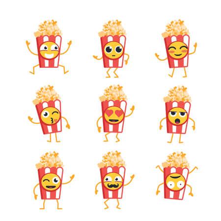 팝콘 만화 캐릭터 - 현대 벡터 템플릿 마스코트 그림의 집합입니다. 팝콘 춤, 웃 고, 좋은 시간 보내고의 선물 이미지. 이모티콘, 행복, 감정, 사랑, 놀라 스톡 콘텐츠