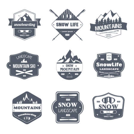 Wintersport - vintage vector set van logo's