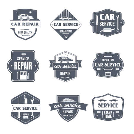 Auto reparatie - vintage vector set van logo's