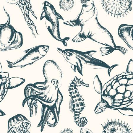 Sea Creatures - hand drawn seamless pattern