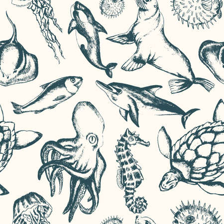 Sea Creatures - hand drawn seamless pattern