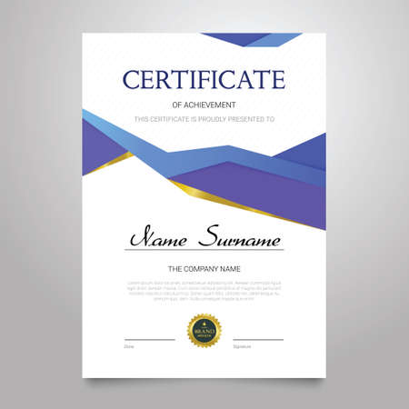 Certificate - vertical elegant vector document