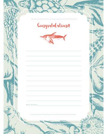 Sea Creatures - hand drawn template card.