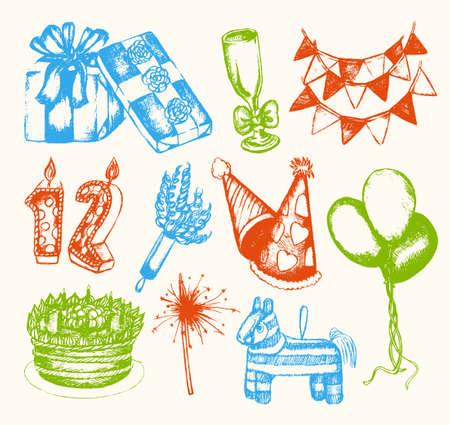 pinata: Happy Birthday - illustration of vector vintage composition Illustration