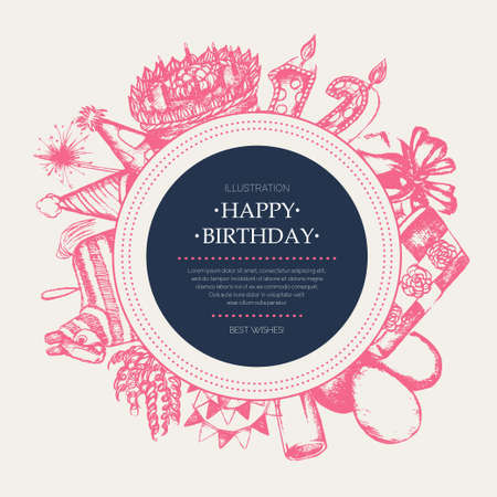 Happy Birthday - modern drawn round banner template.