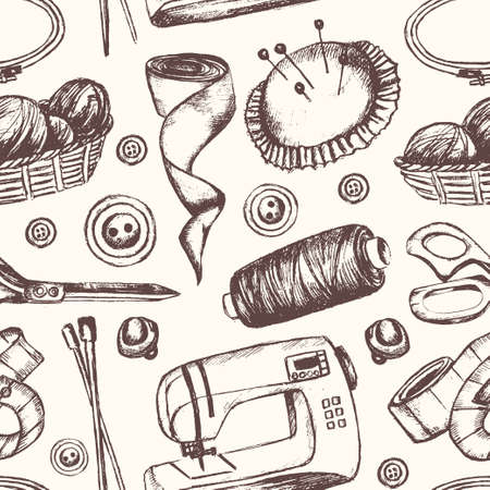 Sewing Accessories - hand drawn seamless pattern Illustration