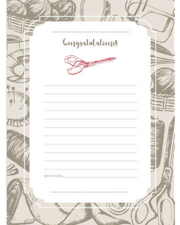 Sewing Accessories - hand drawn template card.