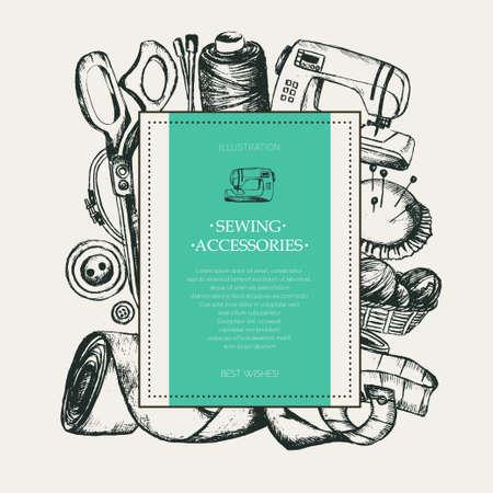 바느질 액세서리 - 현대 그려진 된 사각형 엽서입니다.