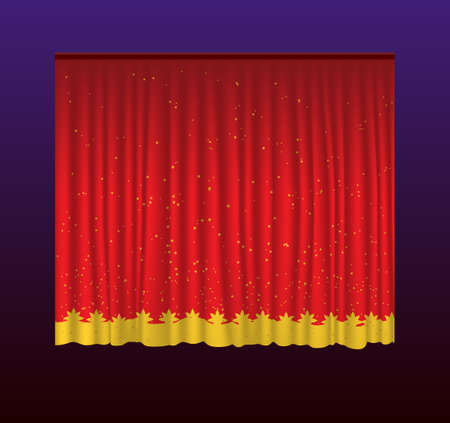 graphic display cards: Curtains - realistic vector red drapes illustration