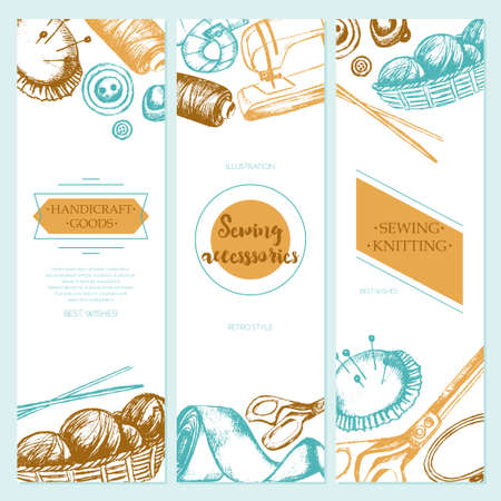 Sewing Accessories - color vector drawn template banner with copy space. Realistic thread spool, holder, sewing machine, silk band, knitting needle, tape-line, tambour, basket of wool, scissors, button Illustration