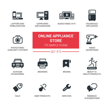Online appliance store - Modern simple thin line design icons, pictograms set Ilustracja