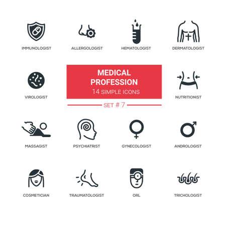 Medische beroepen - Moderne eenvoudige dunne lijn ontwerp pictogrammen, pictogrammen instellen