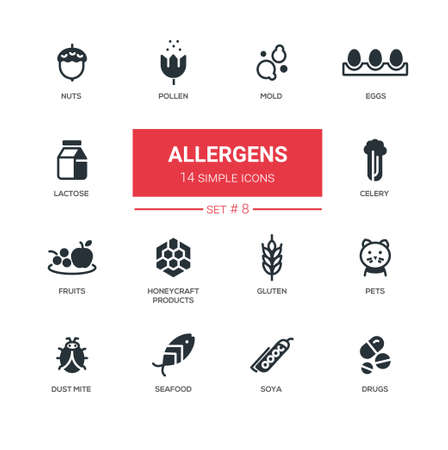 Allergens - Modern simple thin line design icons, pictograms set Illustration