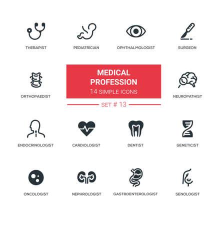 의료 전문직 - 현대 단순한가는 선 디자인 아이콘, 그림 무늬 세트 일러스트