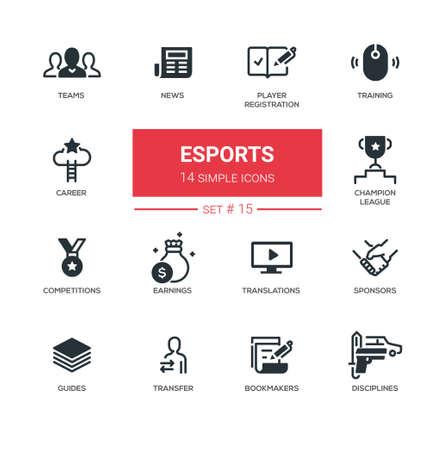 eSports - Modern simple thin line design icons, pictograms set Stock Photo