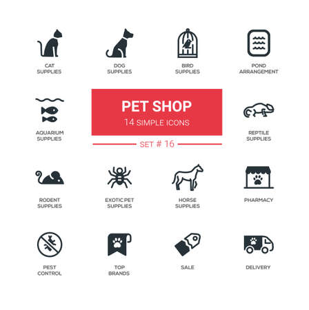 Pet Shop - Icônes du design moderne simple ligne mince, jeu de pictogrammes Banque d'images - 82349791