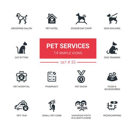 silueta de gato: Pet services - set of vector icons, pictograms